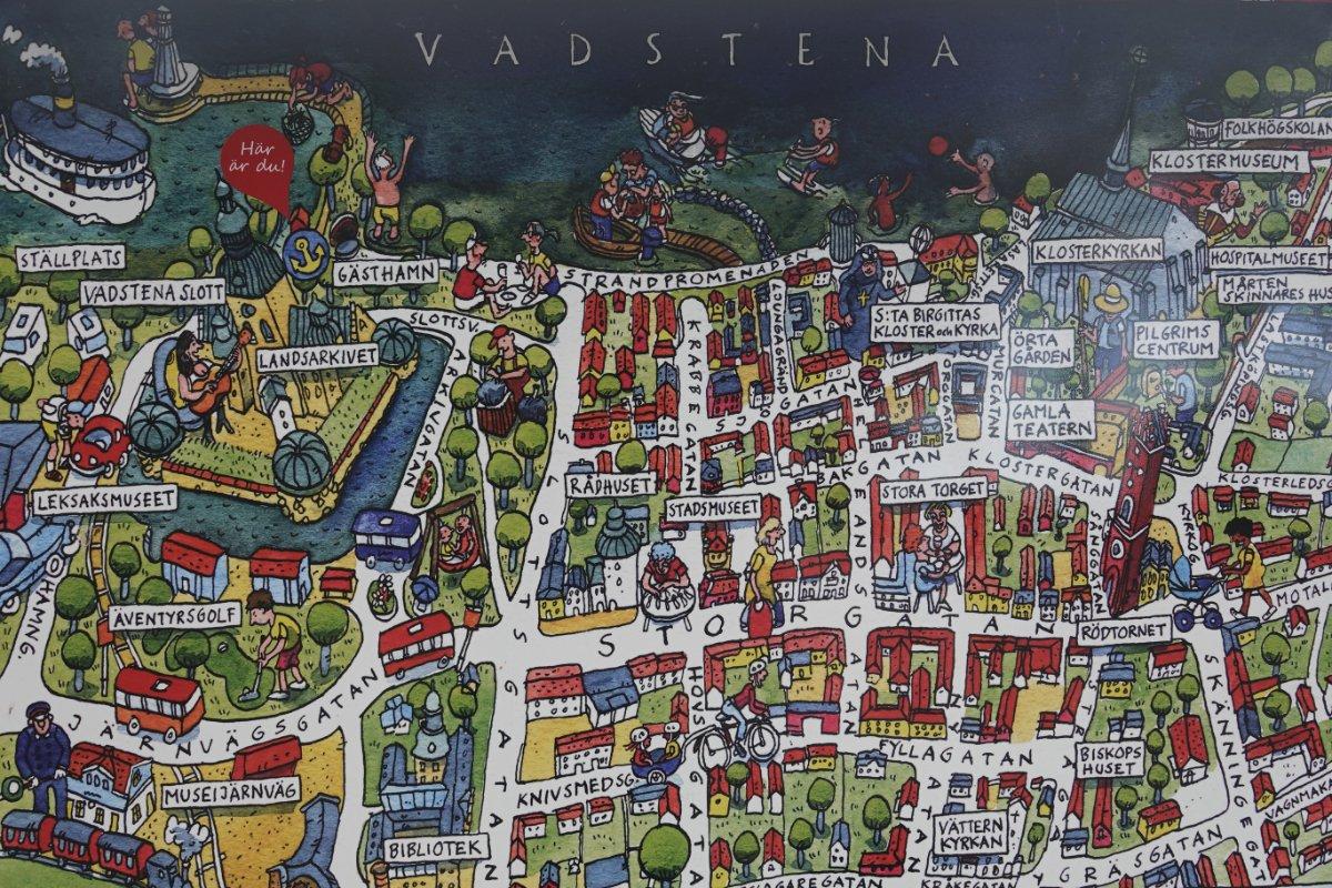 Touristische Informationstafel von Vadstena