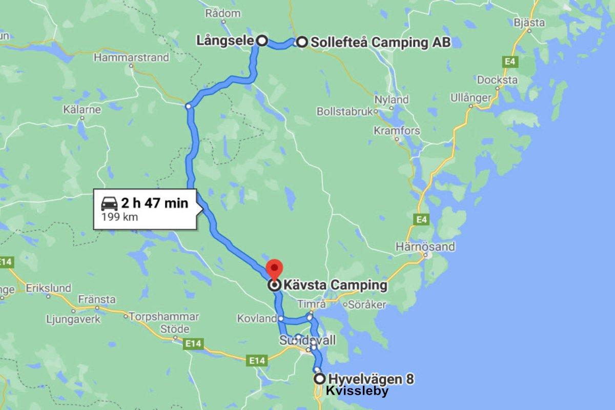 Långsele - Sellefteå - Sundsvall - Kävsta Camping