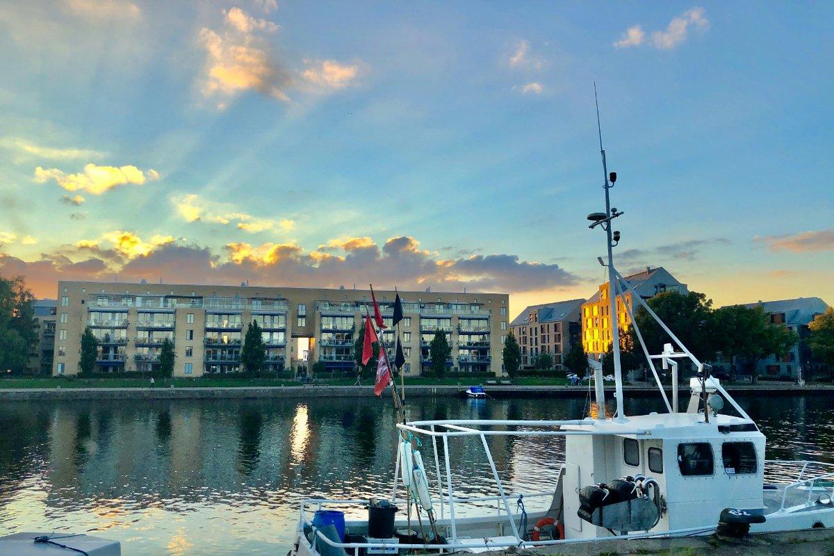 Sonnenuntergang am Nissan Fluss in Halmstad