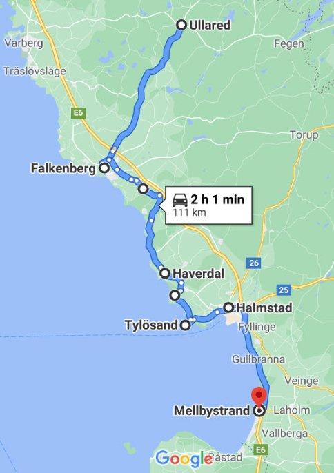 Ullared - Halmstad - Mellbystrand
