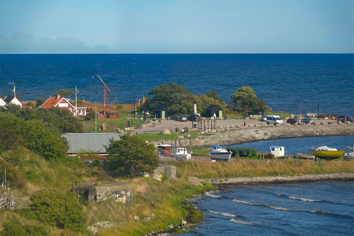 Blick vom Leuchtturm auf den Smygehuk Hafen